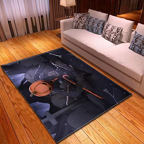 Alfombra de Pelo Corto Alfombra Moderna fácil de cuidar Suaves alfombras mullidas para salón Dormitorio baño sofá Silla cojín Cabeza de Calabaza 80x160cm(LxW)