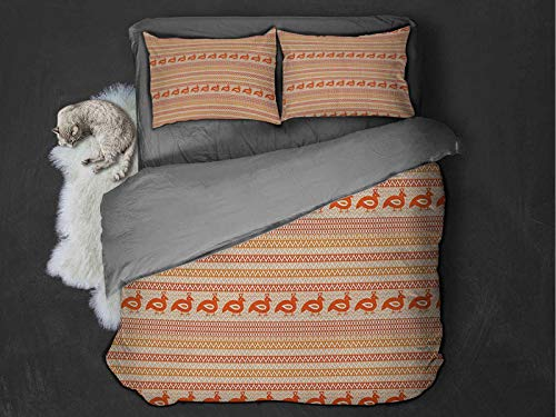Toopeek Kente Pattern 100% washed microfiber bed set Abstract Tribal Ornament with Zigzags and Folk Stylized Birds Super soft and breathable duvet cover (King) Orange Beige and White