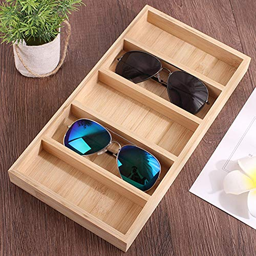 Caja de presentación para gafas, estuche para joyería, bandeja de madera para joyería, compartimentos para ahorrar espacio, almacenamiento visible, moderno organizador de escritorio con tapa abierta