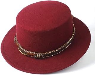 Outing Hat حجم 56-5. 8CM. نساء الرجال شقة أعلى فيدورا قبعة مع واسعة بريم الكنيسة قبعة في الهواء الطلق السفر fascinator قبع...