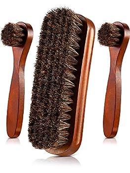 Jovitec 3 Pieces Horsehair Shoes Polish Brushes Care Clean Daubers Applicators  Set C