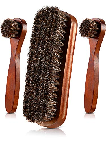 Jovitec 3 Pieces Horsehair Shoes Polish Brushes Care Clean Daubers Applicators (Set C)