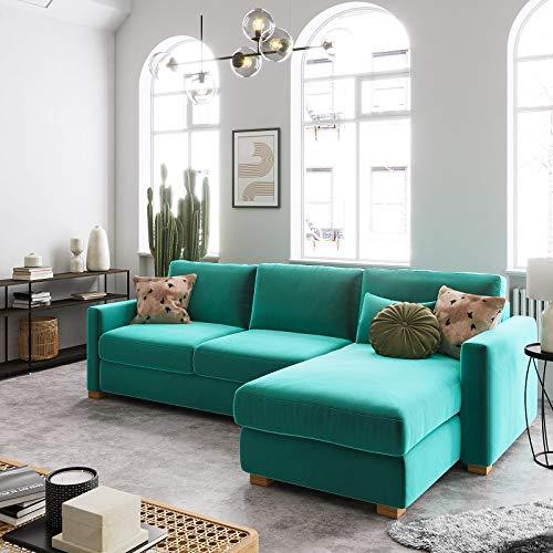 place to be. Sofá cama de 3 plazas con respaldo y función reclinable y extensible, color berenjena