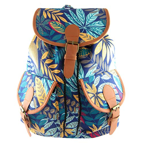 Bedruckter Rucksack aus Canvas und PU-Leder mit Zwei Fronttaschen. Hippie und Freizeitrucksack. Reisetasche. Maßnahmen: 37x30x13cm (Blau Blumen)