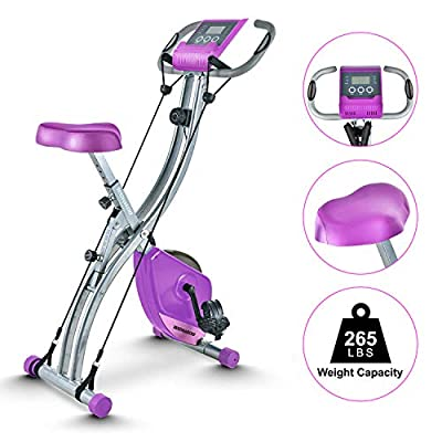 TECHMOO Folding Magnetic X Exercise Bike Upright Recumbent Bike Folding Fitness Home Stationary Exercise Bike Indoor Cycling Bike Bicycle for Workout Machine Cardio Workout Losing Weight(Purple)