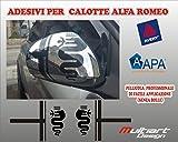 Multiart Design Adesivi per Calotte SPECCHIETTI Alfa Romeo 159,147, Mito, Giulietta,Giulia Stickers (Nero Opaco)