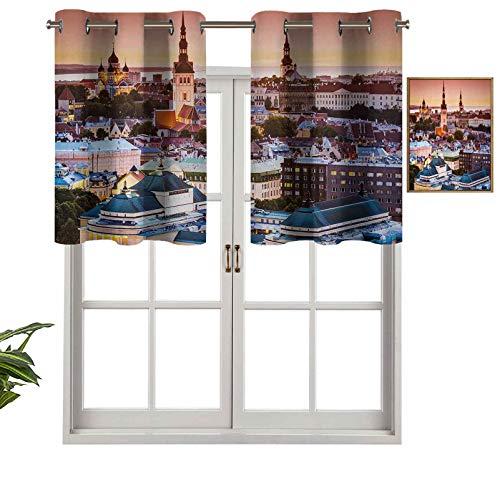 Hiiiman Cortinas con ojales para ventana de Tallin, Estonia, Old City con vista aérea al atardecer, catedrales, atracción turística, juego de 1, 127 x 45 cm para ventana de cocina