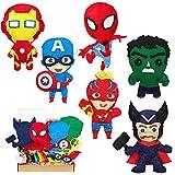 MALLMALL6 6Pcs Superhero Sewing Kit DIY Art Craft Felt Kits for Kids Learn to Sew Crafts Supplies Handmade Stuffed Cartoon Toys Hero League Themed Stitch Craft Art Project for Beginners Boys Girls