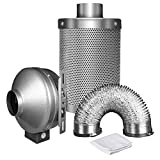 iPower 4 Inch 190 CFM Duct Inline Fan with 4' Carbon Filter 8 Feet Ducting Combo for Grow Tent Ventilation