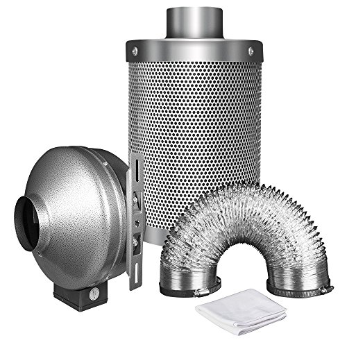 """iPower 8 Inch 750 CFM Inline Fan with 8"""" Carbon Filter 25 Feet Ducting Combo for Grow Tent Ventilation, Silver"""