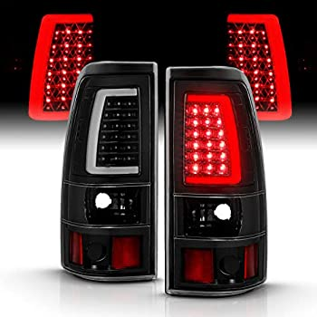 AmeriLite for 1999-2006 GMC Sierra / 99-02 Chevy Silverado Pick Up Truck Clear Black C-Type LED Tube Replacement Tail Lights Brake Lamp Set - Passenger and Driver Side