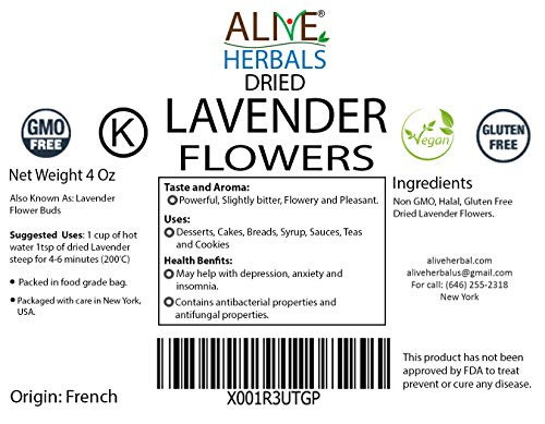 Alive Herbal Lavender Flower Dried Grade- A (Size 4 Oz) - Perfect Uses For Tea, DIY Beauty, Baking, Lemonade| 100% Raw from France, Vegan, Kosher, Non GMO| Large Resealable 4 Oz Bag.