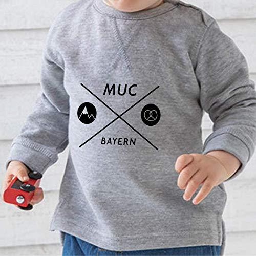 Baby Sweatshirt >München Kreuz< / Unisex, München, Bayern, Munich, Bavaria, Ostern, Easter, Muttertag, Mother's Day, Geschenk, Geburt, Oktoberfest, Wiesn, Frauenkirche, Brezel