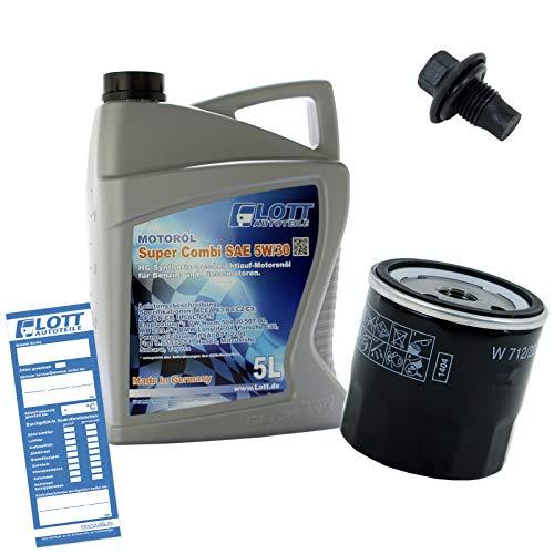 Ölwechsel Set Inspektion 5L Lott 5W-30 Öl Motoröl + Ölfilter + Öl Ablassschraube Verschlussschraube