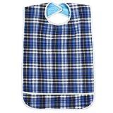 Baberos de comida lavables reutilizables para adultos, 2 colores, ajustable, impermeable, con cierre de velcro, con recogedor de migas(Azul)