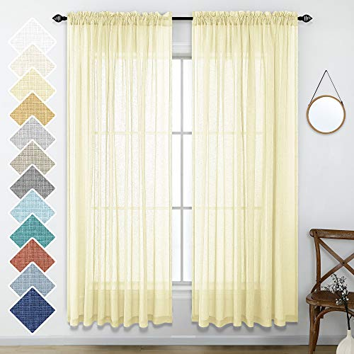 Light Yellow Curtains 84 Inch Length for Living Room Decor Set of 2 Panels Rod Pocket Linen Look Textured Semi Sheer Pale Yellow Translucent Window Curtains for Bedroom Dining Room 52x84 Inch Long