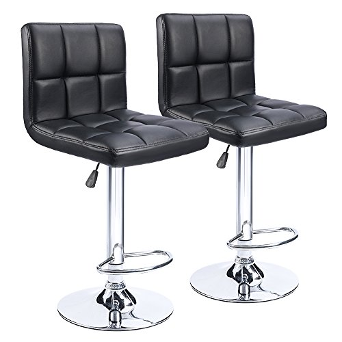 Homall Bar Stools Swivel Bonded Leather Stool Chair with Back Adjustable Kitchen Island Counter Height Swivel Bar Stool (Black Set of 2)