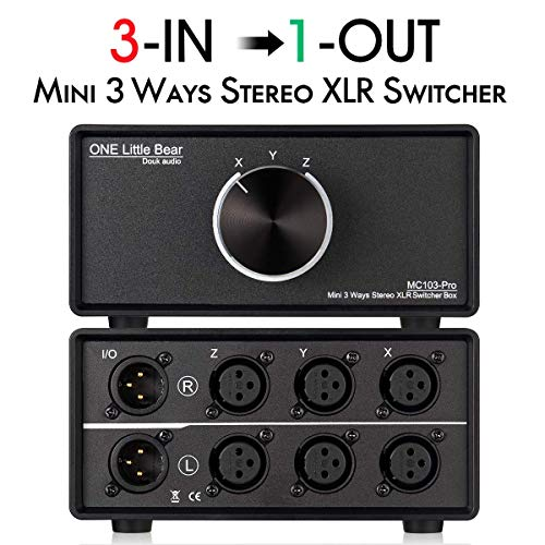 Nobsound 3-IN-1-OUT XLR interruttore audio; convertitore audio bilanciato; selettore audio stereo passivo a 3 vie