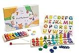 Wigvistork | Giochi Educativi 3 Anni | Set di 3 Giocattoli Montessori in Legno | Gioco Bambino per Anno 3 4 5 6 | 2 Puzzle Didattici + 1 Xilofono Bambini | Impara Matematica Geometria Alfabeto Musica