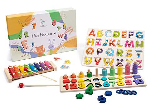Wigvistork   Giochi Montessori Educativi 3 4 5 6 Anni   Set di 3 Giocattoli Didattici in Legno per Gioco Bambini   2 Puzzle + 1 Xilofono Bambino   Impara Matematica Geometria Alfabeto Musica