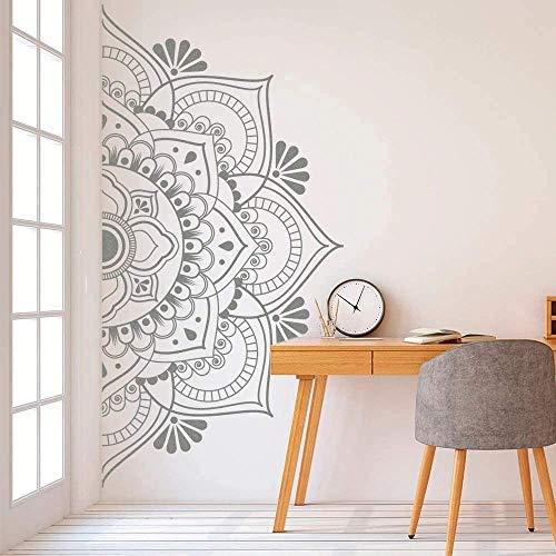Mandala en la mitad de la pared de la etiqueta engomada de vinilo desprendible para la meditación yoga arte de la pared del salón dormitorio mural 83x42 cm tamaño B (26 gris estado)
