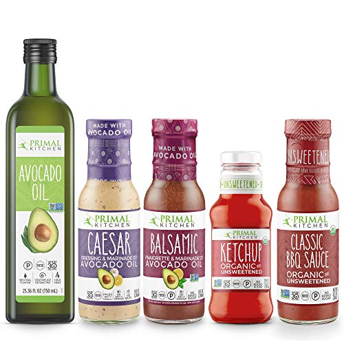 Primal Kitchen Whole 30 Dressing & Sauce Essential Kits, Includes: Avocado Oil, Caesar Dressing, Balsamic Dressing, Unsweetened Ketchup, and Classic BBQ Sauce