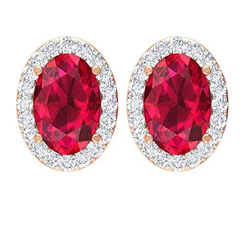 Pendientes de rubí solitario, 1,2 quilates, pendientes de piedra de nacimiento de julio, pendientes de halo de diamante HI-SI, pendientes de forma ovalada, 18K Oro rosa, Par