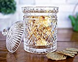 Elegant Crystal Candy Jar with Lid, Glass Biscuit Jar – Cookie Jar for Food Storage and Organization – 24 ounce Diamond-faceted Crystal Dish