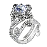 Ring,ZYooh Vintage Beautiful Diamond Ring Engagement Wedding Band Ring Jewelry Gift (Sliver, 6)