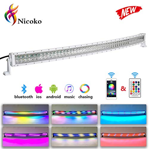 Nicoko White Housing Led Light bar 300w Curved RGB Chasing Halo 52inch 10 Solid Color Over 72 Flashing Modes Led Outdoor Light Driving Fog Lamp Offroad SUV Ute ATV Truck 4x4 Boat+ Free Wire Harness