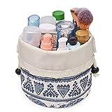 Bolsa de maquillaje de barril de viaje con cordón organizador de artículos de aseo impermeable para mujeres y niñas (pequeño, elefante)