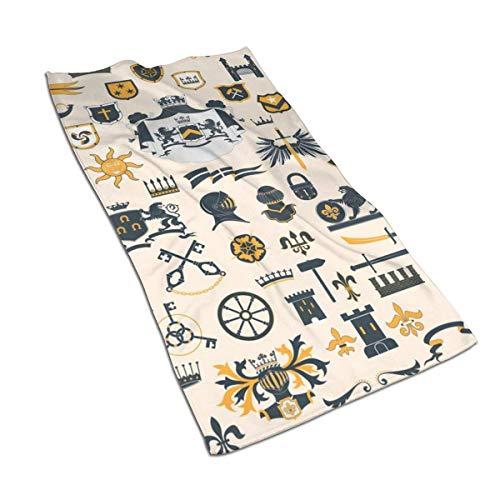 Tyueu Heraldic Design Elements Set toalla de cara, toalla de mano, toalla de cocina, toalla de diseño 3D, toallas para la cocina, limpieza, cocina, hornear, toalla de lavavajillas 15.6 x 27.5 pulgadas
