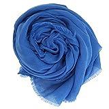 [マコッカ] 年中使える 手洗いができる 大判 無地 ストール 152cm×202cm ブルー