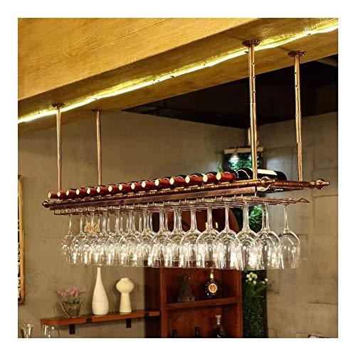 AMSXNOO Portabottiglie Soffitto, Supporto Calici Soffitto Decorazione Mensola Vintage Stileferro Sospeso Vino Porta Bicchiere 120X30Cm Contiene 11 Bottiglie Vino 30 Tazze Bicchieri