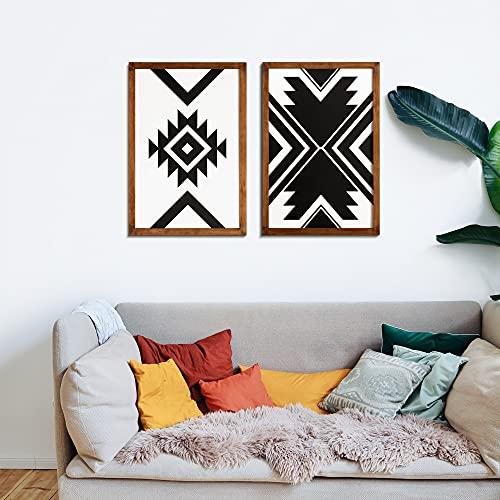 ODUN ARTS - Set de 2 cuadros Tribales Zulu - Cuadros Decorativos Modernos Elaborados en Madera - Arte de Pared - 60cm Alto x 40cm Ancho x 2cm Espesor (Cada cuadro) - Blanco / Negro - Cuadros Decorativos para Recámara y Salas - Decoración Hogar