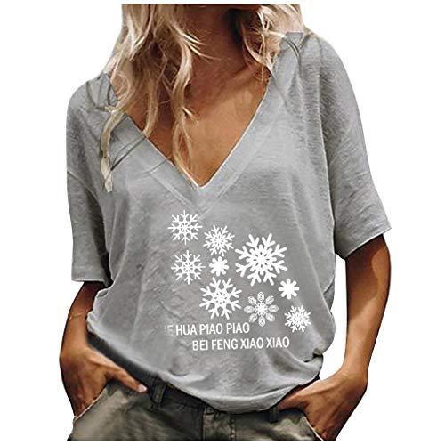 Lialbert Pusteblume Bedrucktes T-Shirt Damen Kurzarm Lose Bluse Lässiger V-Ausschnitt Solid Tunika Tops