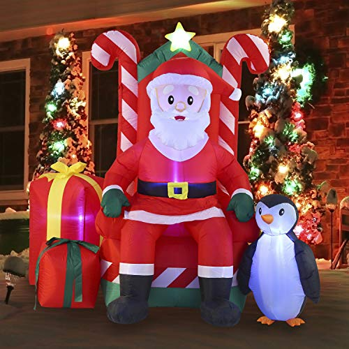 Joiedomi 6 FT Tall Santa Claus on Candy Throne Inflatable with Build-in LEDs Blow Up Inflatables for Xmas Party Indoor, Outdoor, Yard, Garden, Lawn Winter Decor.