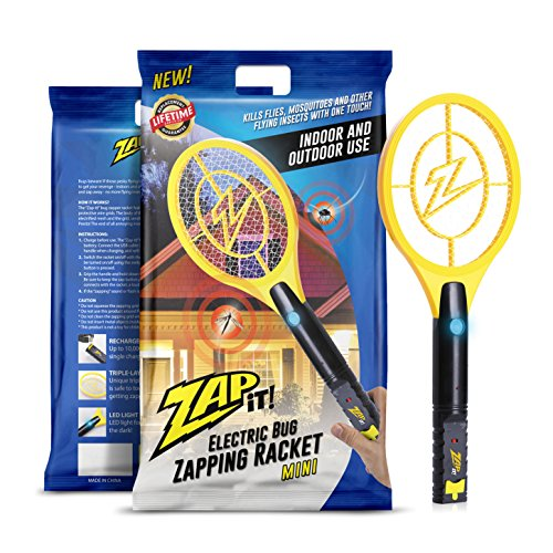 ZAP IT! Mini Bug Zapper - Rechargeable Mosquito, Fly Killer and Bug Zapper Racket - 4,000 Volt - USB...