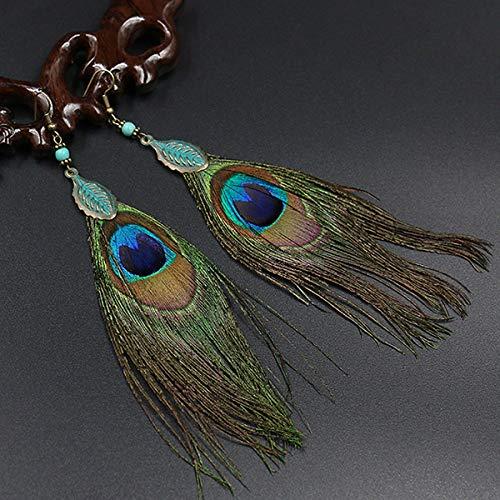 Pendientes de plumas de pavo real de lujo vintage 1 par