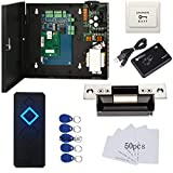 Electric Door Strike Lock Complete TCP/IP Network Single Door Access Control Board System Kits with 110V Metal Power Supply RFID Reader+Exit Button Phone APP remotely Open Door