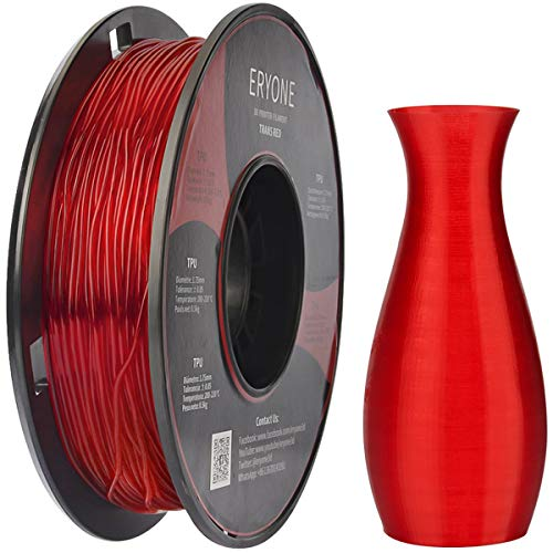 Eryone 1.75mm TPU Clear Red 3D Printer Filament, Dimensional Accuracy +/- 0.05 mm, 0.5kg (1.1 LB) / Spool