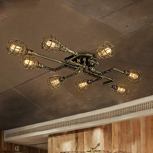 BAYCHEER Deckleuchte Industrielampe 8 Lampenfassung 100cm Retro Kupfer Semi Flush Deckenlampe Kronleuchte Pendellampe (8 Lampen)