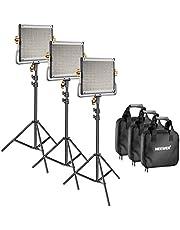 Neewer 3 stuks dimbare bi-kleur 480 LED video licht en standaard verlichtingsset: LED-paneel (3200-5600K CRI 96+) met U-houder 79 inch lichtstandaard voor studio fotografie opname