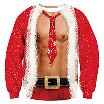 RAISEVERN Mens Ugly Christmas Sweater Funny Muscle Design Fake 2 Pieces Pullover Sweatshirt Red 1 2017 Style No.3 fake 2 Pieces  Small