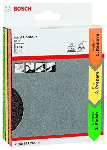 Bosch Professional 3tlg. Schleifschwamm S473 Best for Contour Set (Holz, Kunststoff und Metall, 98 x 120 x 13 mm, Zubehör Handschleifen)