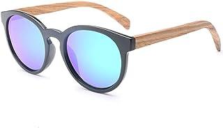 Men and Women Black Frame Wooden Legs Retro Sunglasses Glasses Polarized Color Film for (Color : Green, Size : Free)