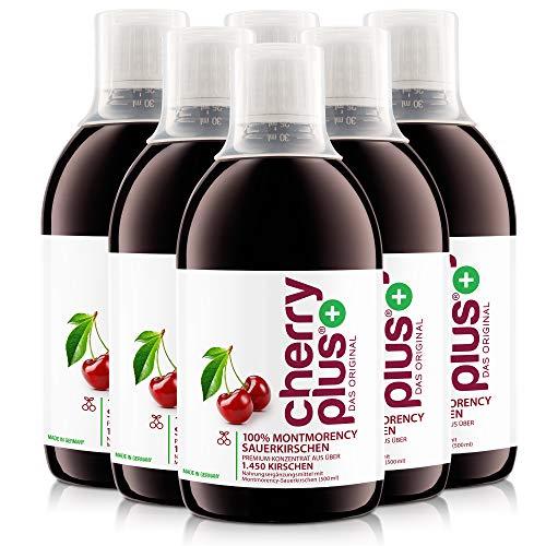 Cherry PLUS Konzentrat aus 1.450 Montmorency-Sauerkirschen - hochkonzentriert (aus Direktsaft) – naturrein – 6 x 500 ml