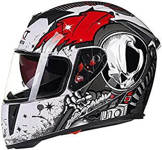 XuBa Flip-up Dual Lenses Antifogging Full-Face Coverage Motorcycle Motorbike Riding Helmet for Men White Red XXL