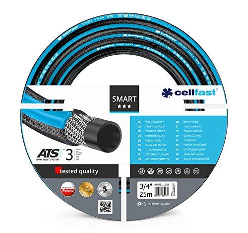Cellfast Gartenschlauch SMART 3-lagiger mit dauerhafter Verstärkung aus Garn höchster Qualität, Doppelgeflecht mit Kreuz- und Trikotgewebe ATSV, druck- und UV-beständig 20 bar Berstdruck, 25m, 3/4 zol