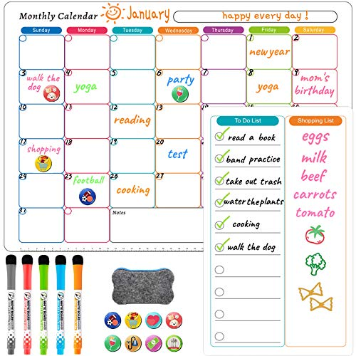 Dry Erase Calendar Magnetic Planning Boards Frige WhiteBoard Monthly Daily Shopping List Board Family Calendars for Refrigerator White Organizing Planner Board - Lnichot (whiteboard)